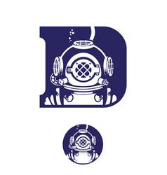 Deep diver vintage initial d symbol vector