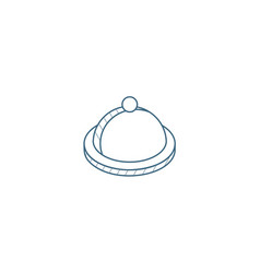 Dish with lid isometric icon 3d line art vector