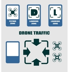 Drone quadrocopter traffic symbols vector