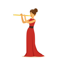 Elegantly dressed female musician playing flute vector