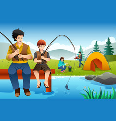 Family going fishing on a camping trip vector
