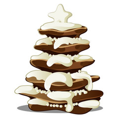 festive layered biscuit cake covered with whipped vector image