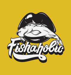 fishaholic handwritten lettering made in 90s vector image