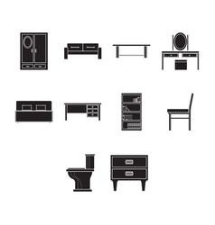 flat black furniture icon set vector image vector image