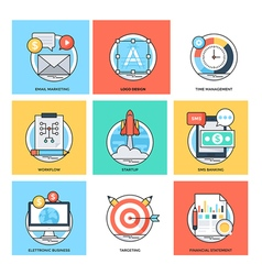 Flat Color Line Design Concepts Icons 36 vector image