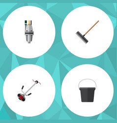 flat icon farm set of pail harrow pump and other vector image