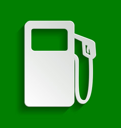 Gas pump sign paper whitish icon with vector
