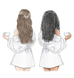 Girls spa day two friends in white bathrobes vector