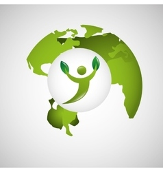 Global world environment person silhouette vector