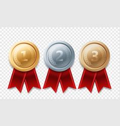 Gold silver bronze champion medal awards vector