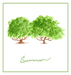 Green summer tree with many leaves watercolor vector