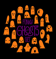 halloween funny ghosts circle orange vector image