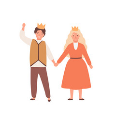happy children play prince and princess in theater vector image