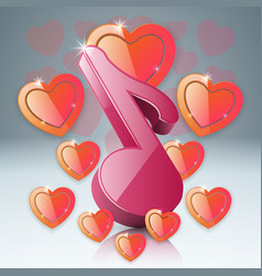 Hearts valentines day music note icon vector