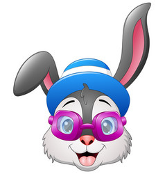 hipster rabbits in purple sunglasses with a hat vector image