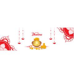 Indian holiday happy dhanteras during diwali vector
