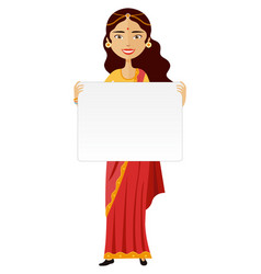 Indian woman standing holding blank sign isolated vector