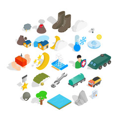 Inflammable icons set isometric style vector