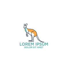 kangaroo logo template with outline style and vector image