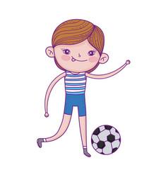 Little boy playing with football ball cartoon vector