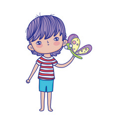 little boy with butterfly characters vector image