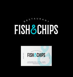Logo fish chips hook business card vector