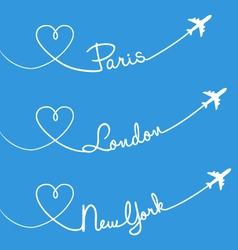 Love flying Paris London New York set vector