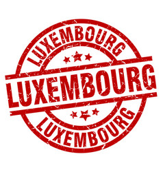 luxembourg red round grunge stamp vector image