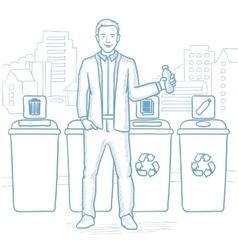 Man throwing away plastic bottle vector