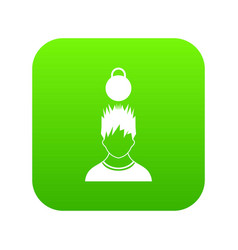 man with the weight over head icon digital green vector image