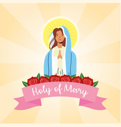 Miraculous virgin assumption mary with ribbon vector