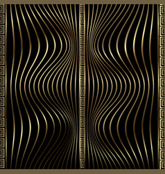 Modern 3d waves greek seamless pattern gold and vector