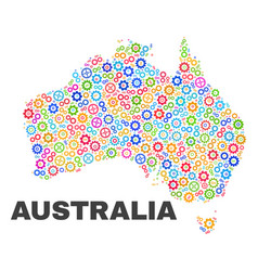 Mosaic australia map of gear items vector