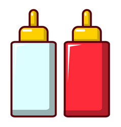 mustard ketchup bottle icon cartoon style vector image