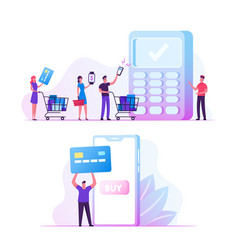 Online payment concept man buyer hold credit card vector