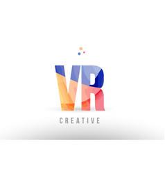 Orange blue alphabet letter vr v r logo icon vector