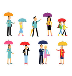 People under umbrella of various colors set men vector