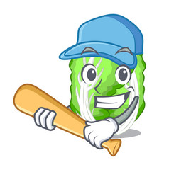 Playing baseball chinese cabbage in the basket vector