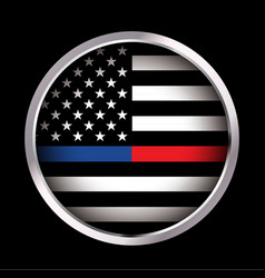 police and firefighter american flag emblem vector image