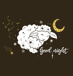 Poster with lamb stars and inscription good vector