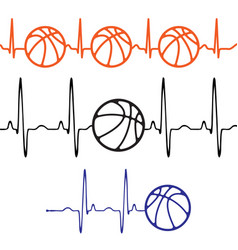 Pulse basketball set differentt colors vector