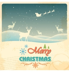 Reindeer in retro christmas holiday background vector