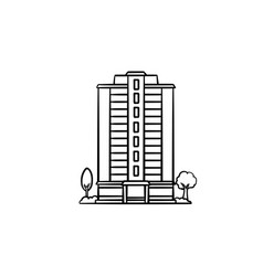 residential building hand drawn outline doodle vector image
