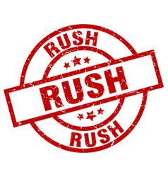 Rush round red grunge stamp vector