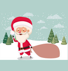 santa claus with gifts bag in snowscape vector image