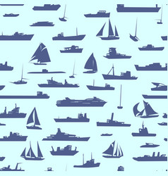 Seamless cartoon background with ships vector