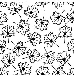 seamless pattern with hand drawn maple leaf vector image