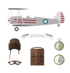 set pilot objects vector image