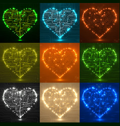 set valentines background with circuit board vector image