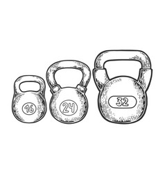 sports weights dumbbell engraving vector image